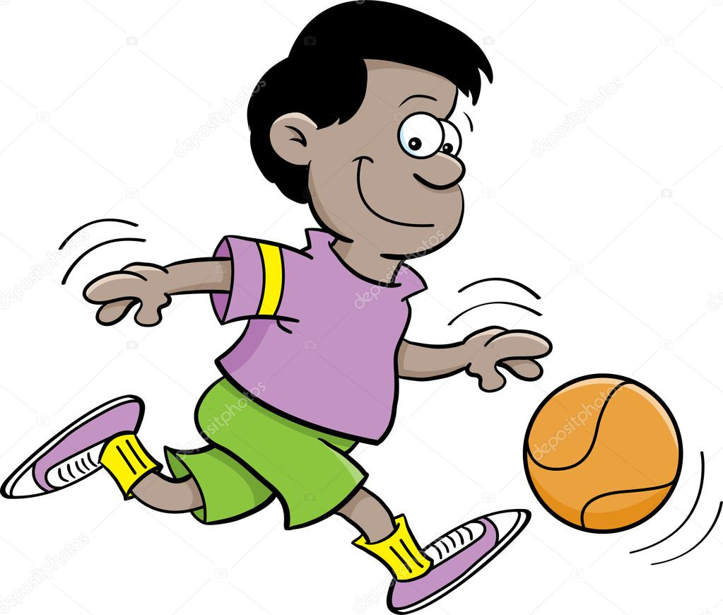 Cartoon illustration of a boy playing basketball — Stock Vector #12648949