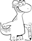Brontosauro tenendo una matita — Vettoriale Stock