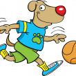 Dog playing basketball - 图库矢量图片