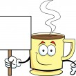 Cup of Coffee holding a sign — Stock Vector #13110834