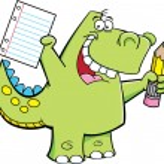 Student Dinosaur — Stock Vector