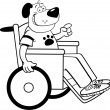 Dog in a wheelchair — Image vectorielle