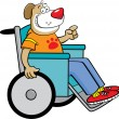 Dog in a wheelchair - Stock Vector