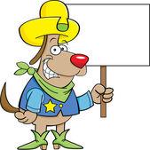 Kovboj pes se znakem — Stock vektor
