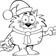 Cartoon Cat Santa — Stok Vektör