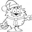 çizgi film Noel Baba kedi — Stok Vektör