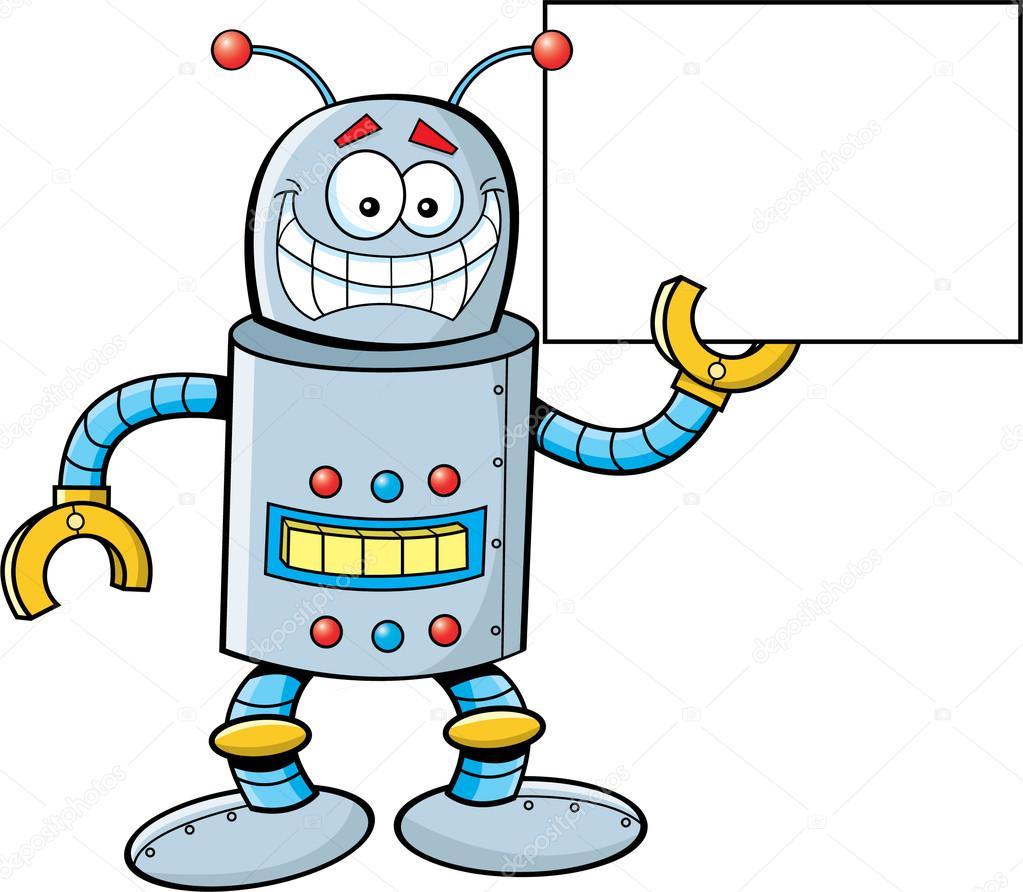 一种机器人举着个牌子的卡通插图— 矢量图片作者 kenbenner