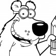 Bear with a pencil (Black and White Line Art) — Vecteur