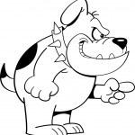 Cartoon angry bulldog (Black and White Line Art) — Stock Vector #14215858