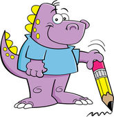 Dinosauro tenendo una matita — Vettoriale Stock