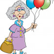 Senior citizen lady holding balloons — Stock Vector