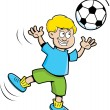 Cartoon boy playing soccer — Stock Vector