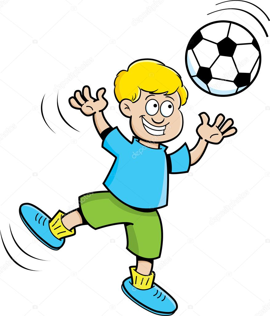 Cartoon illustration of a boy playing soccer. — Stock Vector #14870647
