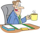 Cartoon man drinking coffee — Stock Vector
