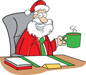 Cartoon Santa Claus drinking coffee — Stock Vector