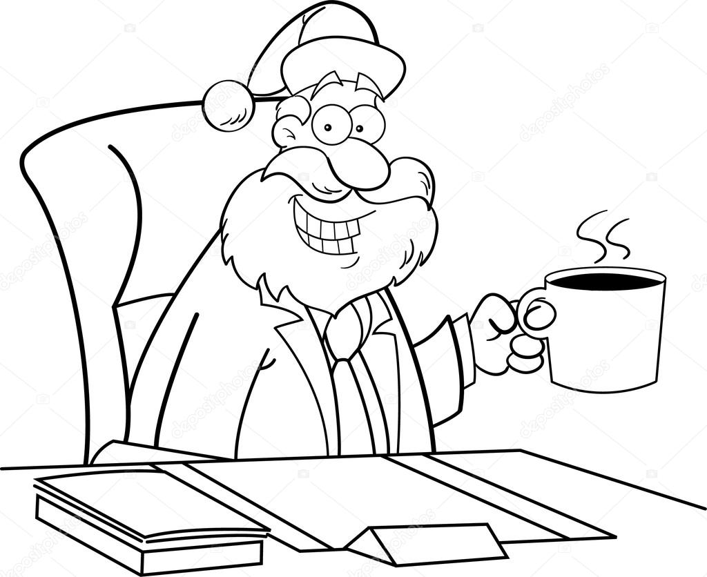Santa Drinking Coffee at a Desk Drinking Coffee