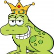 Stock Vector: Cartoon frog wearing a crown
