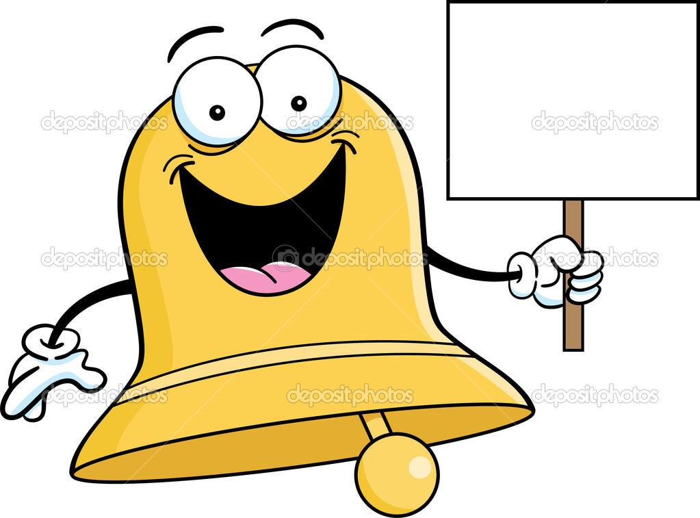 Cloche de dessin anim tenant une pancarte image - Dessin d une cloche ...