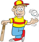 Cartoon Boy with a Baseball and a bat — Vecteur