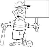 Cartoon baseball kid holding a sign — Stock Vector