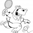 Cartoon hippo playing tennis - Stock Vector