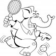 Cartoon elephant playing tennis - Stock Vector