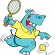 Cartoon hippo playing tennis — Stock Vector #19178461