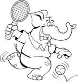 Dibujos animados elefante jugando al tenis — Vector de stock
