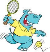 Tecknad flodhäst spela tennis — Stockvektor