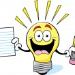 Cartoon Light Bulb Holding a Paper and Pencil — Stock vektor