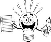 Kreskówka żarówki trzymając papier i ołówek — Wektor stockowy