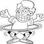Cartoon boy with a hula hoop — Stock Vector