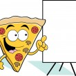 Cartoon pizza slice pointing - Vettoriali Stock