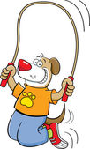 Cartoon dog jumping rope — Stock vektor