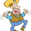 Cartoon cowboy jumping with two thumbs up - Stock Vector