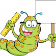 Cartoon inchworm holding a sign — Stock Vector