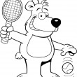 Cartoon bear playing tennis — Stock Vector