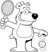 Orso dei cartoni animati, giocare a tennis — Vettoriale Stock