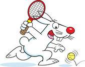 Cartoon rabbit playing tennis — Stock Vector