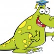 Cartoon dinosaur graduate — Stock Vector