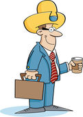 Cartoon businessman wearing a cowboy hat — Vetorial Stock