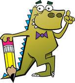 Dinosaurio de la historieta con un lápiz y una idea — Vector de stock
