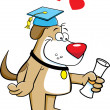 Cartoon illustration of a dog with a diploma — Stockvectorbeeld