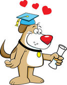 Cartoon illustration of a dog with a diploma — Stock Vector