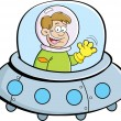 Stock Vector: Cartoon boy in spacecraft