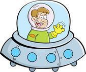 Cartoon boy in a spacecraft — Stock Vector