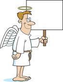 Cartoon angel holding a sign — Stock Vector