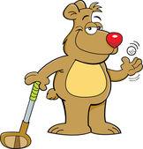 Cartoon bear holding a golf club — Stock Vector