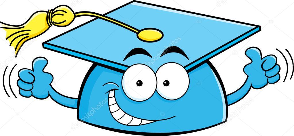 Ilustración de dibujos animados de un gorro de graduación dando pulgares\u2014 Vector de kenbenner