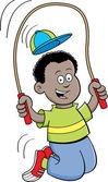 Cartoon boy jumping rope — Stock Vector